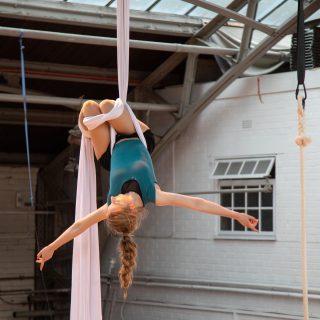 Female youth on an aerial silk